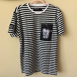 Black Keys Tupac black and white stripe tee #868